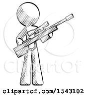 Halftone Design Mascot Man Holding Sniper Rifle Gun