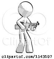 Halftone Design Mascot Man Tommy Gun Gangster Shooting Pose