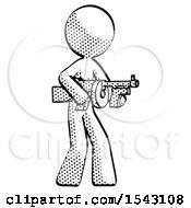 Halftone Design Mascot Woman Tommy Gun Gangster Shooting Pose