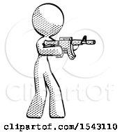 Halftone Design Mascot Woman Shooting Automatic Assault Weapon