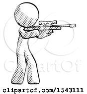 Halftone Design Mascot Man Shooting Sniper Rifle