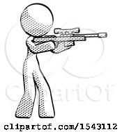 Halftone Design Mascot Woman Shooting Sniper Rifle