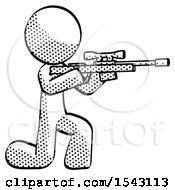 Halftone Design Mascot Man Kneeling Shooting Sniper Rifle