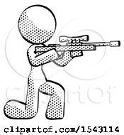 Halftone Design Mascot Woman Kneeling Shooting Sniper Rifle