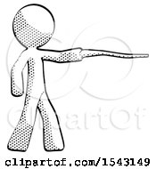 Halftone Design Mascot Man Pointing With Hiking Stick