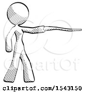 Halftone Design Mascot Woman Pointing With Hiking Stick