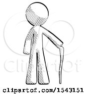 Halftone Design Mascot Man Standing With Hiking Stick