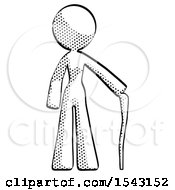 Halftone Design Mascot Woman Standing With Hiking Stick
