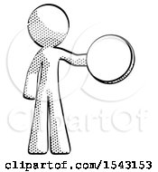 Halftone Design Mascot Man Holding A Large Compass
