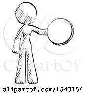 Halftone Design Mascot Woman Holding A Large Compass