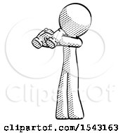 Halftone Design Mascot Man Holding Binoculars Ready To Look Left by Leo Blanchette