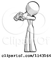 Halftone Design Mascot Woman Holding Binoculars Ready To Look Left by Leo Blanchette