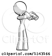 Halftone Design Mascot Woman Holding Binoculars Ready To Look Right by Leo Blanchette