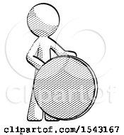 Halftone Design Mascot Man Standing Beside Large Compass