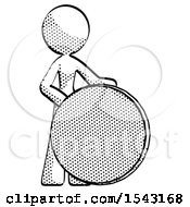 Halftone Design Mascot Woman Standing Beside Large Compass