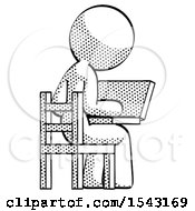 Halftone Design Mascot Woman Using Laptop Computer While Sitting In Chair View From Back by Leo Blanchette