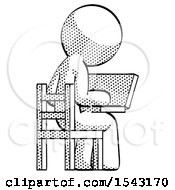 Halftone Design Mascot Man Using Laptop Computer While Sitting In Chair View From Back by Leo Blanchette