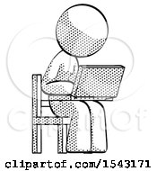 Halftone Design Mascot Woman Using Laptop Computer While Sitting In Chair Angled Right by Leo Blanchette
