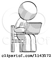 Halftone Design Mascot Man Using Laptop Computer While Sitting In Chair Angled Right by Leo Blanchette