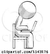 Halftone Design Mascot Man Using Laptop Computer While Sitting In Chair View From Side by Leo Blanchette