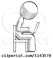 Halftone Design Mascot Woman Using Laptop Computer While Sitting In Chair View From Side by Leo Blanchette