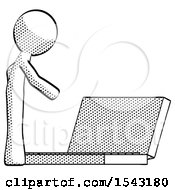 Halftone Design Mascot Man Using Large Laptop Computer Side Orthographic View by Leo Blanchette