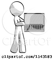 Halftone Design Mascot Man Holding Laptop Computer Presenting Something On Screen by Leo Blanchette