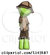 Green Explorer Ranger Man Thinking Wondering Or Pondering Rear View