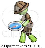 Green Explorer Ranger Man Walking With Large Compass