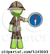 Green Explorer Ranger Man Holding A Large Compass