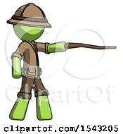 Green Explorer Ranger Man Pointing With Hiking Stick