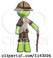 Green Explorer Ranger Man Standing With Hiking Stick