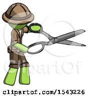 Green Explorer Ranger Man Holding Giant Scissors Cutting Out Something