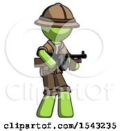 Green Explorer Ranger Man Tommy Gun Gangster Shooting Pose
