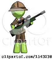Green Explorer Ranger Man Holding Sniper Rifle Gun