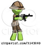 Green Explorer Ranger Man Shooting Automatic Assault Weapon