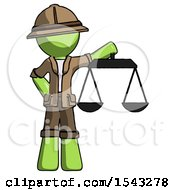 Green Explorer Ranger Man Holding Scales Of Justice