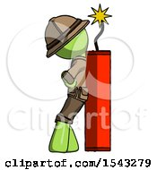 Green Explorer Ranger Man Leaning Against Dynimate Large Stick Ready To Blow