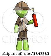 Green Explorer Ranger Man Holding Dynamite With Fuse Lit