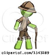 Green Explorer Ranger Man Walking With Hiking Stick