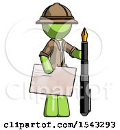 Green Explorer Ranger Man Holding Large Envelope And Calligraphy Pen