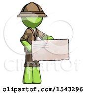Green Explorer Ranger Man Presenting Large Envelope