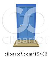 Go Away Door Mat In Front Of A Closed Blue Door Clipart Illustration Image