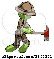 Green Explorer Ranger Man With Ax Hitting Striking Or Chopping
