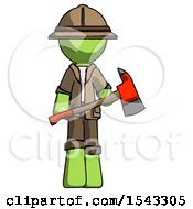 Green Explorer Ranger Man Holding Red Fire Fighters Ax