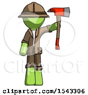 Green Explorer Ranger Man Holding Up Red Firefighters Ax