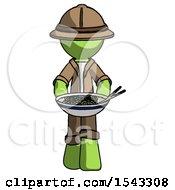 Green Explorer Ranger Man Serving Or Presenting Noodles