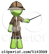 Green Explorer Ranger Man Teacher Or Conductor With Stick Or Baton Directing