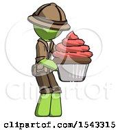 Green Explorer Ranger Man Holding Large Cupcake Ready To Eat Or Serve