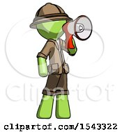 Green Explorer Ranger Man Shouting Into Megaphone Bullhorn Facing Right